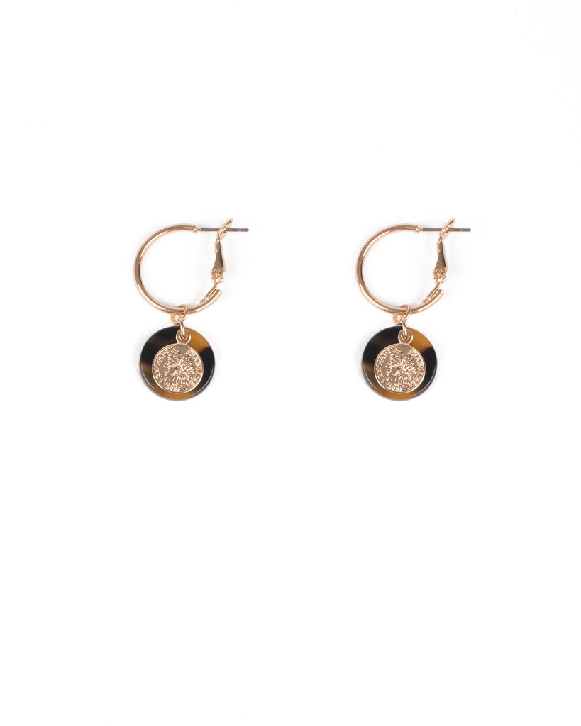 Tortoise Shell Gold Tone Acrylic Drop Disc Hoop Earrings