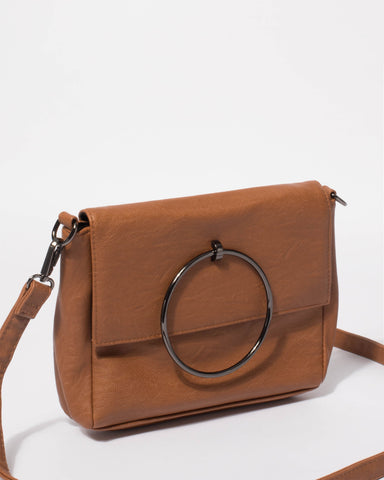 Tan Eileen Ring Crossbody Bag