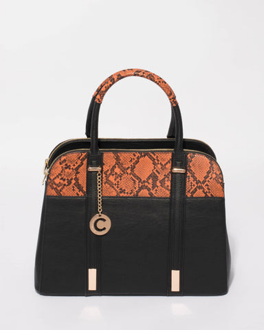 Black Burnt Orange Eileen Large Tote Bag