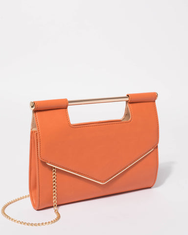 Orange Eileen Handle Clutch Bag
