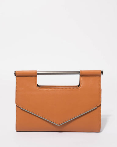Tan Eileen Handle Clutch Bag