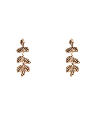 Antique Gold Tone Drop Vine Leaf Stud Earrings