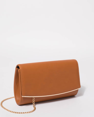Tan Eileen Snake Clutch Bag
