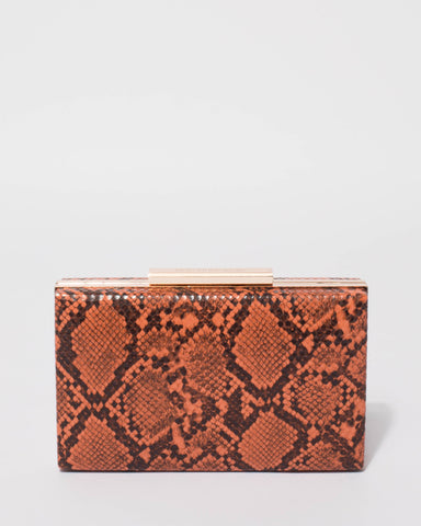Orange Jaimi Python Clutch Bag