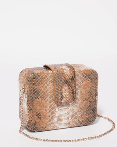 Multi Colour Melinda Snake Clutch Bag