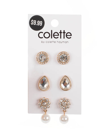 Crystal Gold Tone Pearl Drop Earring Set