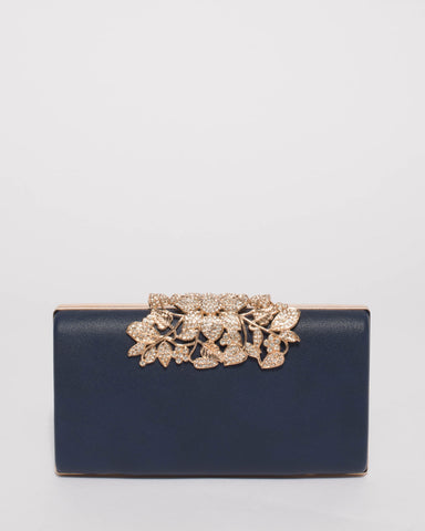 Navy Floral Clip Clutch Bag With Gold Hardware