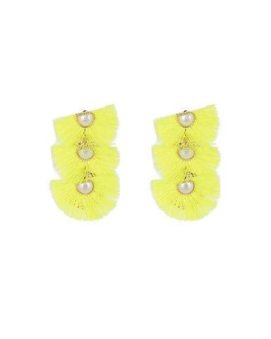 Neon Yellow Gold Tone Triple Tassel Drop Earrings