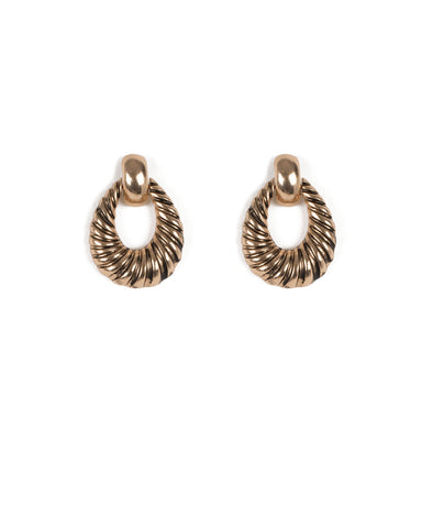 Antique Gold Tone Metal Rope Design Drop Earrings