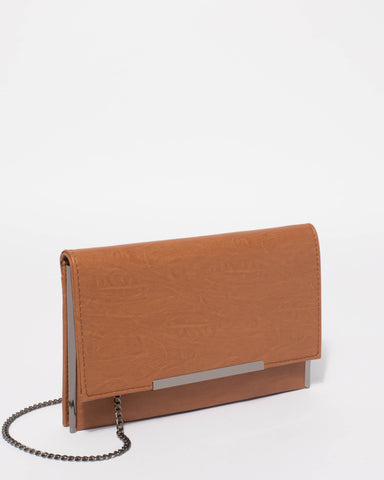 Tan Brielle Clutch Bag