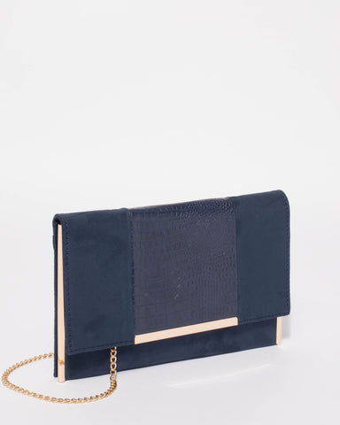 Navy Brielle Center Panel Clutch Bag