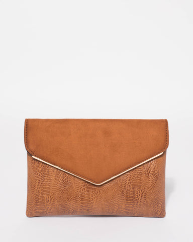 Tan Samantha Clutch Bag With Gold Hardware