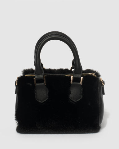 Black Faux Fur Lottie Crossbody Bag