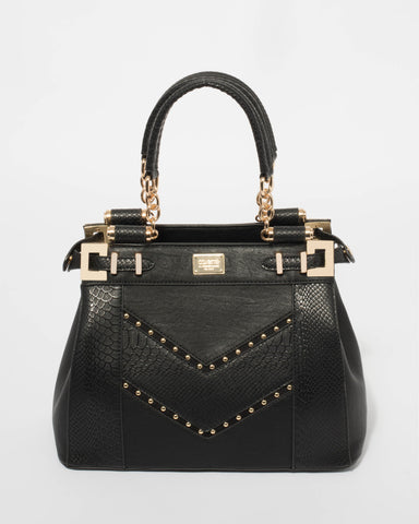 Black Nadine Multi Stud Tote Bag