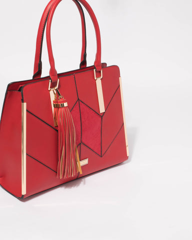 Red Clara Panel Tote Bag
