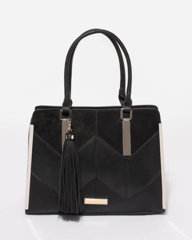Black Clara Panel Tote Bag