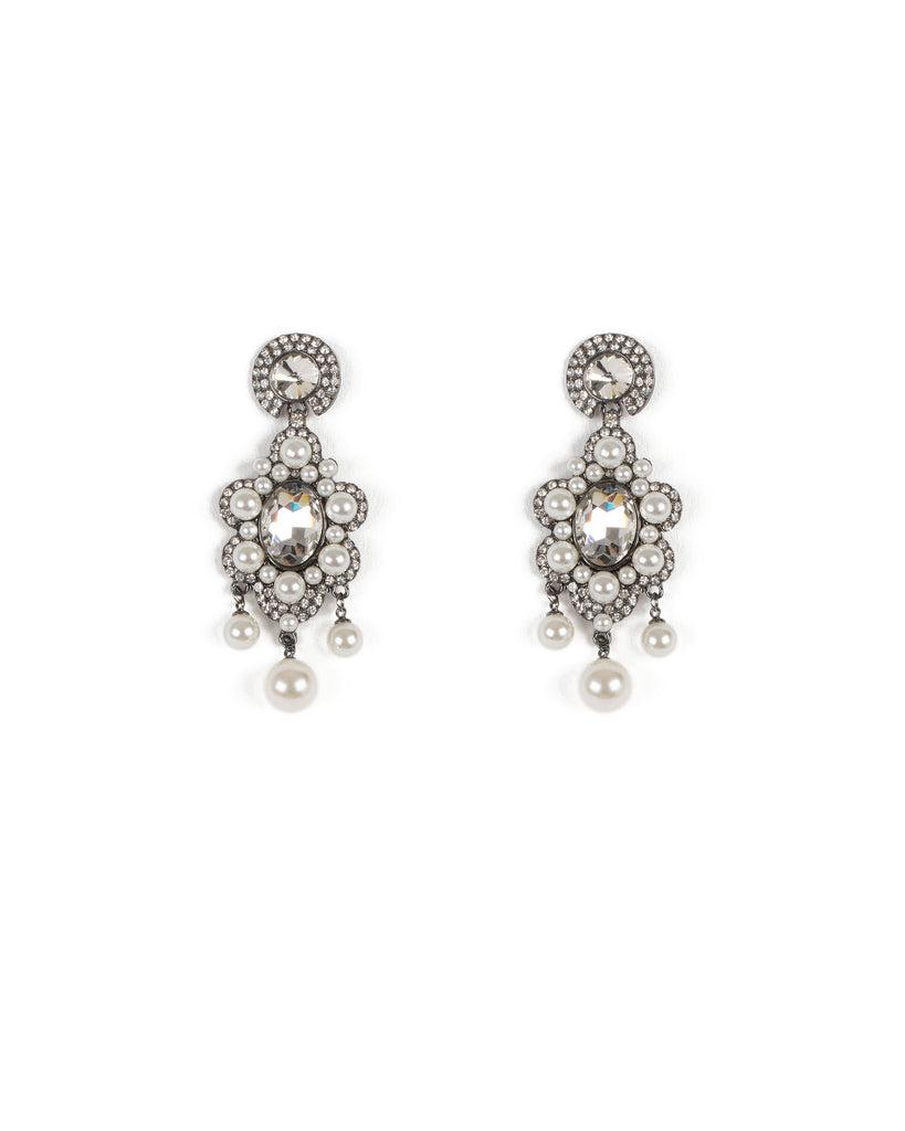 Ivory Gunmetal Tone Pearl Cluster Multi Stone Earrings