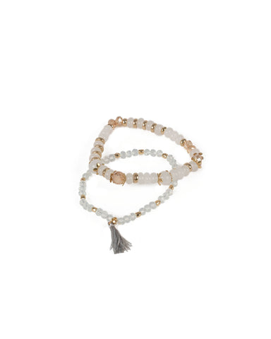 Clear Gold Tone Beaded Tassel Stretch Bracelet