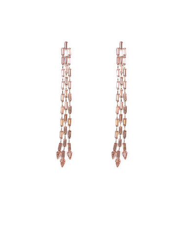 Pink Silver Tone Crystal Chain Drop Earrings