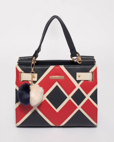 Multi Colour Stephanie Diamond Square Tote Bag