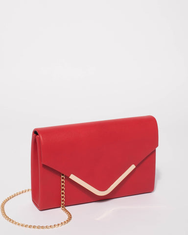 Red Lila Envelope Clutch Bag