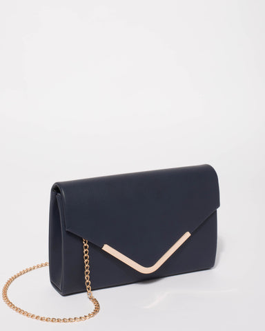 Navy Lila Envelope Clutch Bag With Gold Hardware