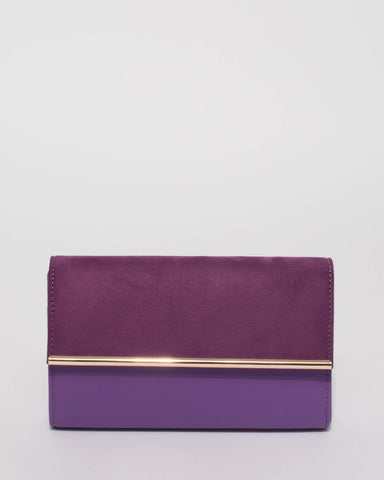Purple Harriet Clutch Bag With Gold Hardware