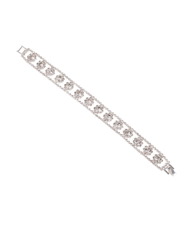 Crystal Silver Tone Diamante Flower Chain Bracelet