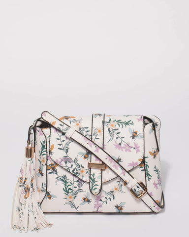 White Floral Heidi Crossbody Bag