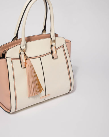 Pink And White Carter Tote Bag