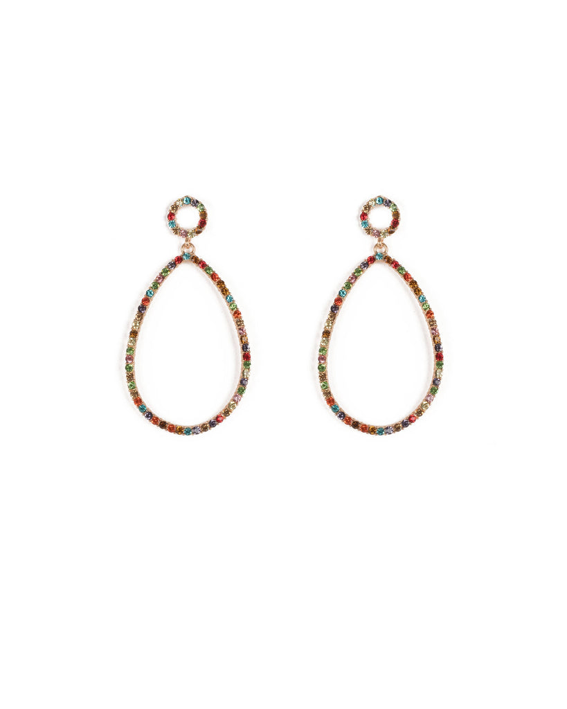 Multi Colour Gold Tone Large Diamante Hoop Drop Earrings