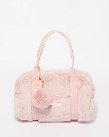 Pink Faux Fur Mini Weekender Bag