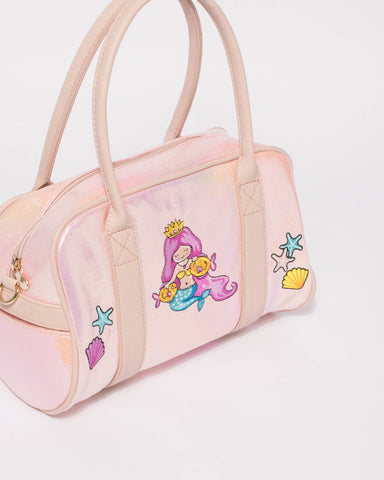 Pink Iridescent Mermaid Mini Weekender Bag