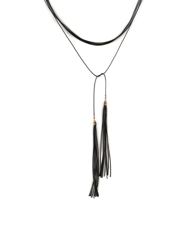 Black Gold Tone Lariat Cord Choker Necklace