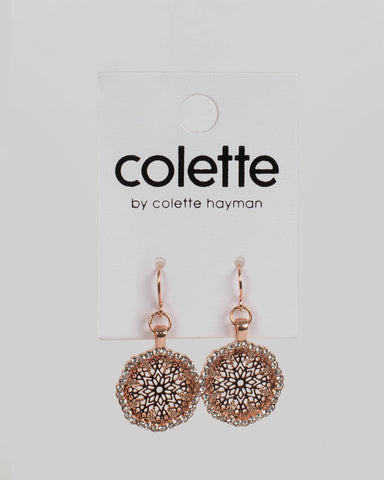 Crystal Rose Gold Tone Floral Diamante Drop Earrings
