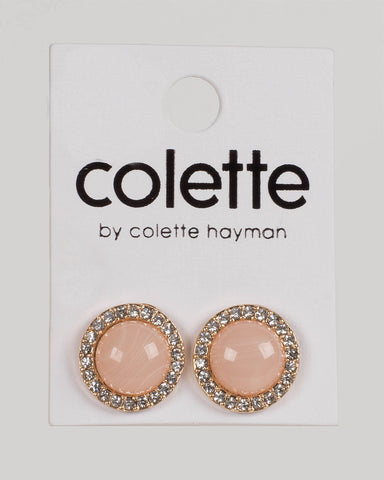 Pink Gold Tone Round Acrylic Diamante Stud Earrings