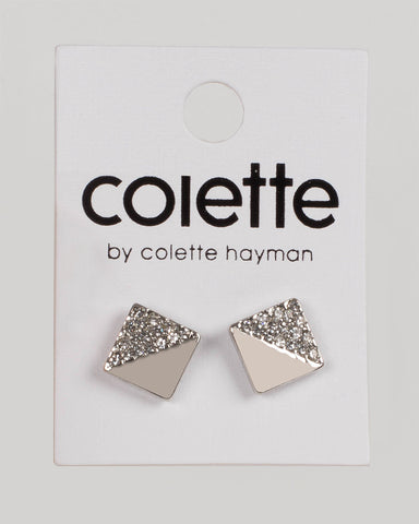Crystal Silver Tone Diamante Square Stud Earrings