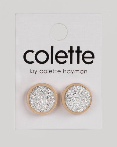 Silver Gold Tone Round Textured Stud Earrings