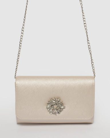 Ivory Lulu Crystal Clutch Bag