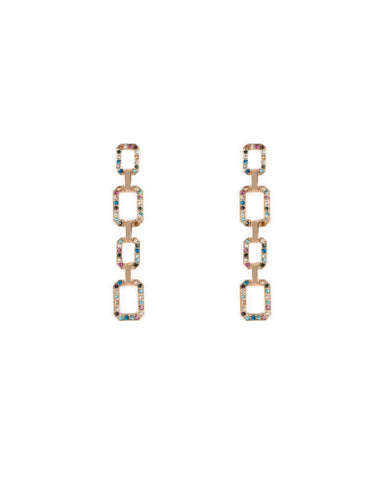 Multi Colour Gold Tone Square Crystal Drop Stud Earrings