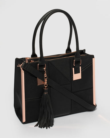 Black Lucy Square Tote Bag
