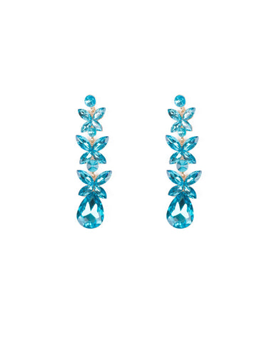 Blue Gold Tone Diamante Flower Statement Drop Earrings