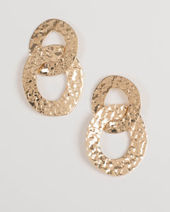 Gold Linked Textured Earrings