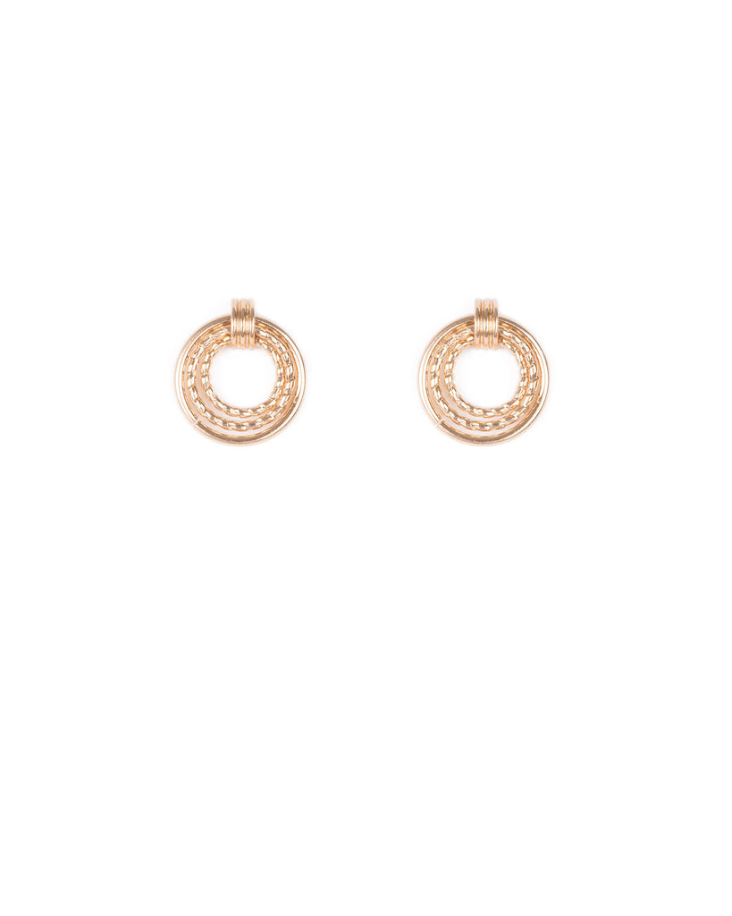 Gold Tone Multi Circle Stud Earrings