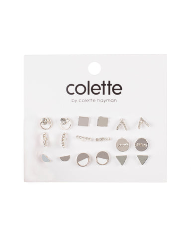Crystal Silver Tone Minimal Diamante Stud Earring Set