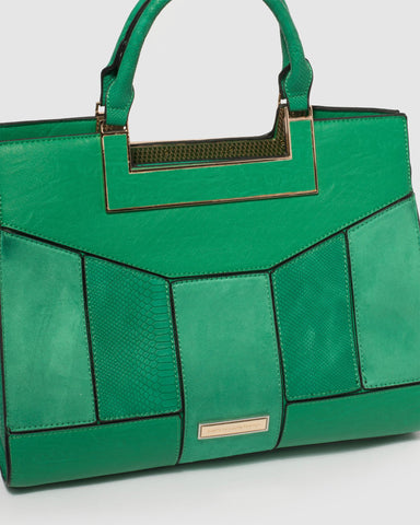 Green Madeleine Paneled Tote Bag