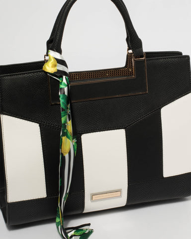 Monochrome Madeleine Paneled Tote Bag