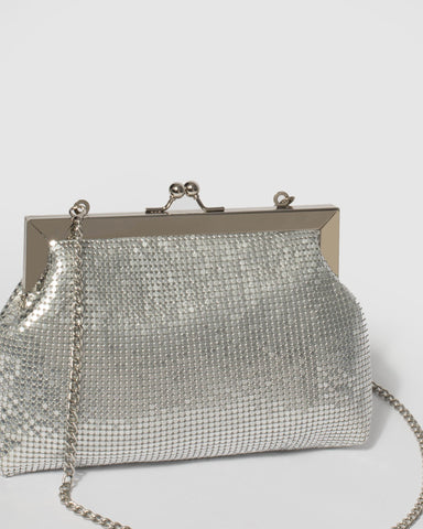 Silver Chainmail Clip Clutch Bag With Silver Hardware