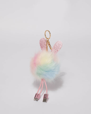 Multi Colour Fluffy Bunny Charger Keyring