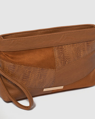 Tan Erin Multi Panel Crossbody Bag